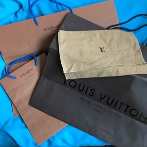 Louis Vuitton dust bag and shopping bags lot